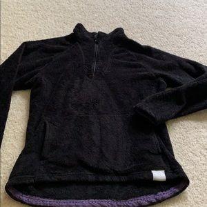 North Face 3/4 zip pullover black soft fleece, M